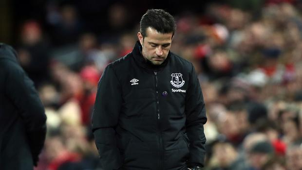 Everton manager Marco Silva appears dejected at Anfield (Richard Sellers/PA)