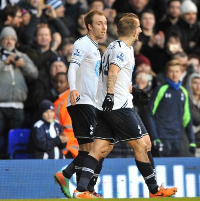 Christian Eriksen, left, scored a dazzling free-kick against West Brom on Boxing Day
