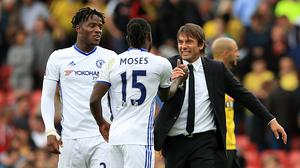 Antonio Conte, right, has won his first two Premier League games in charge of Chelsea.