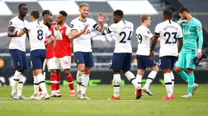 Toby Alderweireld (centre) celebrates with team-mates after the final whistle in the north London derby against Arsenal at The Tottenham Hotspur Stadium.