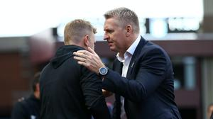At least one of Eddie Howe and Dean Smith will be dealing with relegation on Sunday evening (Tim Goode/PA)