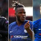 Chelsea have been linked with Edinson Cavani, left, and have Michy Batshuayi, centre, and Olivier Giroud on their books (Andrew Milligan/John Walton/Adam Davy/PA)