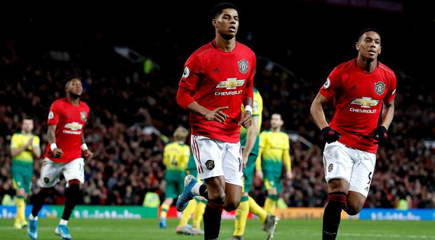 Marcus Rashford bagged a brace on his 200th appearance for Manchester United (Martin Rickett/PA)