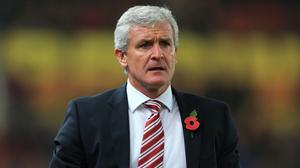 Mark Hughes, pictured, has brought Ollie Shenton into Stoke's first-team squad