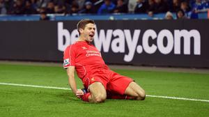 Captain Steven Gerrard netted Liverpool's second goal at Leicester