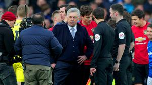 Everton manager Carlo Ancelotti was frustrated at full-time at Goodison Park (Peter Byrne/PA)(
