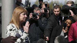 Margaret Aspinall, chair of the Hillsborough Families Support Group, addresses the media after the verdict
