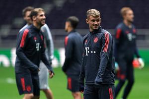 Bayern Munich midfielder Michael Cuisance, second from right, is a target for Leeds (Tess Derry/PA)