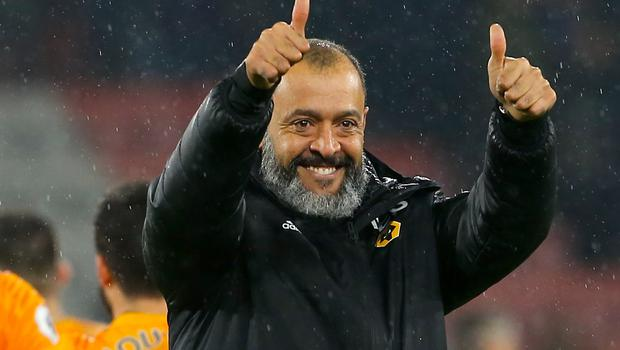 Nuno Espirito Santo celebrates after the final whistle (Mark Kerton/PA)