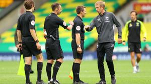 Brighton boss Graham Potter, right, says abuse of referees is a cultural problem (Richard Heathcote/PA)