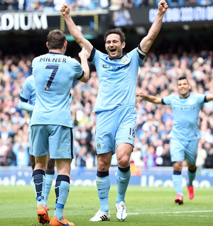 On a high: Frank Lampard's City team mates say goodbye
