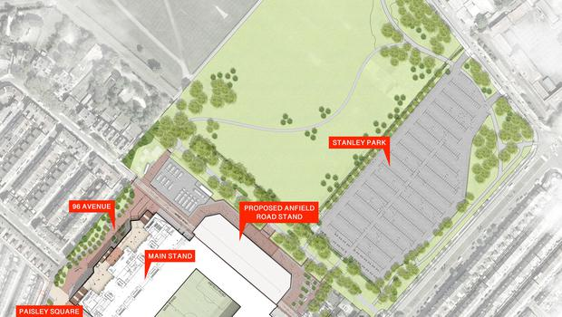 Liverpool's plans for redevelopment of Anfield will see the stadium extended towards Stanley Park, closing a section of Anfield Road