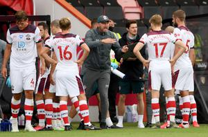 Ralph Hasenhuttl, centre, gives instructions to his Southampton side (Mike Hewitt/NMC Pool/PA)