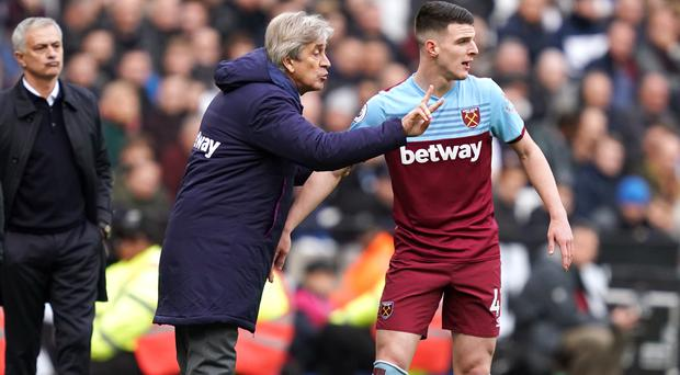 West Ham manager Manuel Pellegrini, centre, has struggled for results since a 2-0 win over Manchester United in September (John Walton/PA)