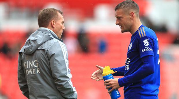 Leicester manager Brendan Rodgers, left, has told Jamie Vardy he will not play all the games over the festive period (Mike Egerton/PA)