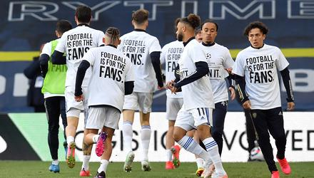 Leeds players joined in the protests against the proposed European Super League before Monday's draw with Liverpool (Paul Ellis/PA)
