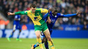 N'Golo Kante (right) battles with Jonny Howson before coming off in Leicester's 1-0 win over Norwich on Saturday.