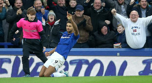 Everton's Dominic Calvert-Lewin celebrates scoring his side's second goal against Chelsea (Nigel French/PA)