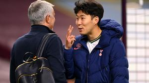 Jose Mourinho (left) is delighted with Son Heung-min's understanding with Harry Kane (Michael Regan/PA)