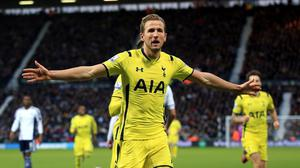Tottenham Hotspur's Harry Kane celebrates scoring his sides third goal of the game during the Barclays Premier League match at The Hawthornes, Birmingham.