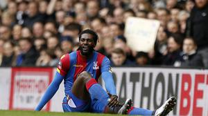 Emmanuel Adebayor was substituted at half-time during Crystal Palace's 3-2 defeat by West Brom