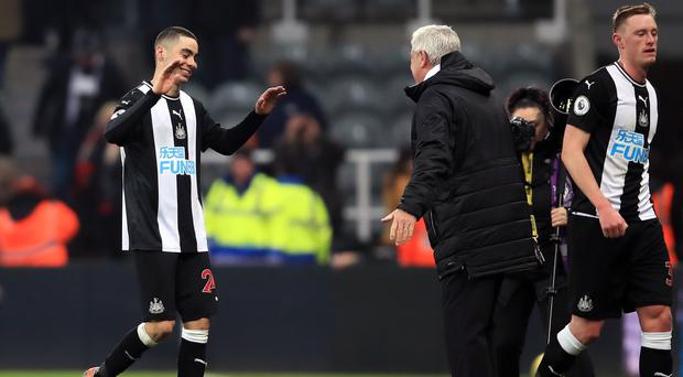 Miguel Almiron (left) scored his first Newcastle goal in the Premier League victory over Crystal Palace (Owen Humphreys/PA)