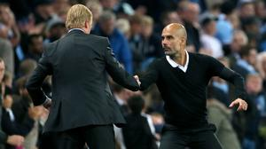 Ronald Koeman, left, and Pep Guardiola, right, had to settle for a point each