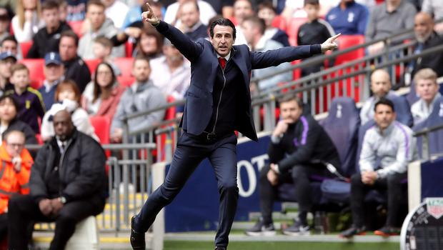 Emery during the Premier League match against Tottenham at Wembley in March 2019, which ended a 1-1 draw (John Walton/PA)