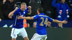 Leicester City's Paul Konchesky (left) celebrates scoring the first goal of the game alongside teammate Anthony Knockaert during the Barclays Premier League match at the King Power Stadium, Leicester.