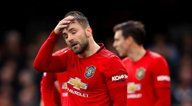 Luke Shaw and his Manchester United team-mates endured a torrid afternoon at Watford. (Mike Egerton/PA)