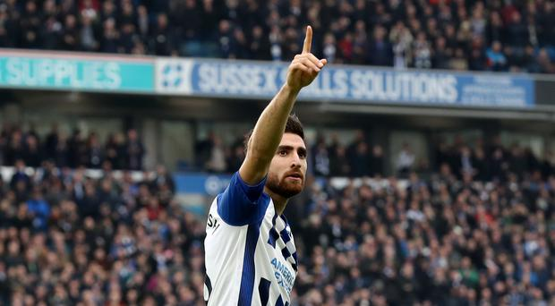 Brighton's Alireza Jahanbakhsh celebrates his first goal for the club in a 2-0 win over Bournemouth (Gareth Fuller/PA)