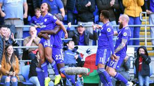 Cardiff's Bobby Reid (left) celebrates scoring his side's second goal of the game against Fulham (Simon Galloway/PA)