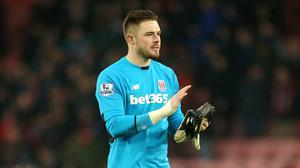 Stoke keeper Jack Butland allegedly had a coin thrown at him