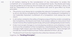 Section on rescheduling matches from Premier League 2020-21 handbook (PA)