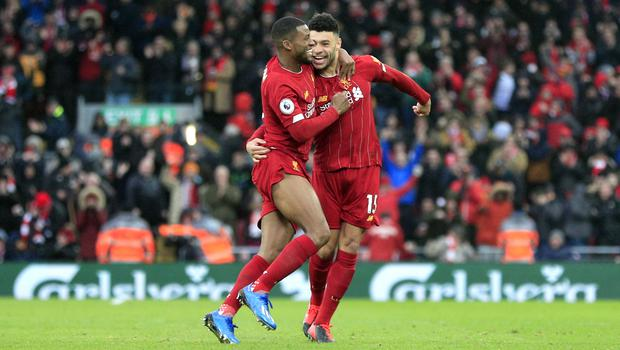 Liverpool's Alex Oxlade-Chamberlain (right) opened the scoring (Peter Byrne/PA)