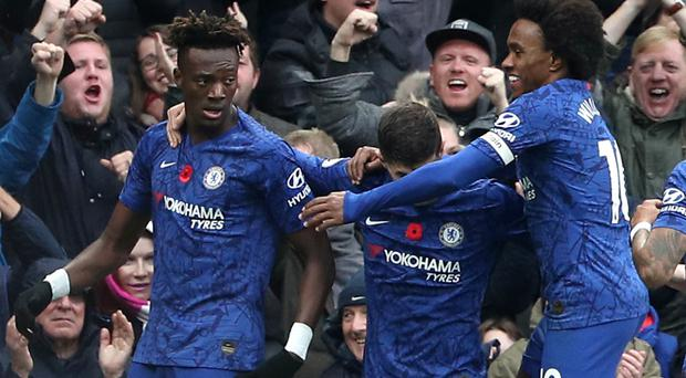 Tammy Abraham, left, and Christian Pulisic, centre, shone for Chelsea (Yui Mok/PA)