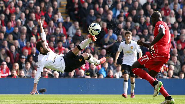 Juan Mata's second goal at Anfield in 2015 was a spectacular effort (Peter Byrne/PA)