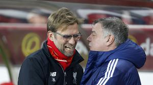 Liverpool manager Jurgen Klopp and Sunderland boss Sam Allardyce share a joke before Wednesday's match, but things were rather more heated by the end