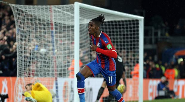 Crystal Palace's Wilfried Zaha scored his third goal of the season against Brighton (Nigel French/PA)