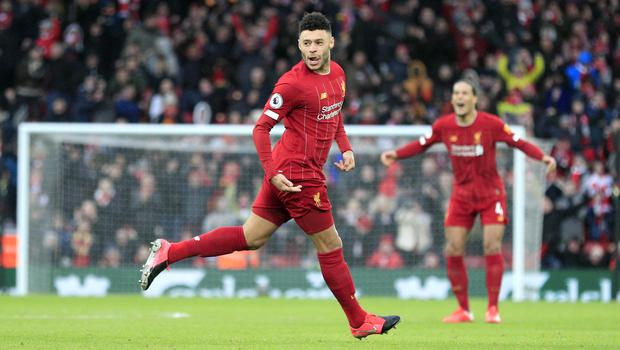Alex Oxlade-Chamberlain opened the scoring for Liverpool (Peter Byrne/PA).
