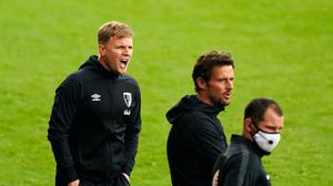 Bournemouth manager Eddie Howe, left, feels all home clubs will be at a disadvantage with no fans inside the stadium (Will Oliver/NMC Pool)
