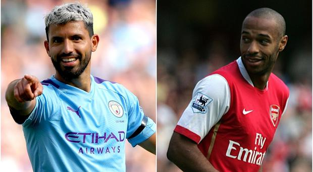 Sergio Aguero (left) has Thierry Henry's record in his sights (Nick Potts/Jane Mingay/PA)