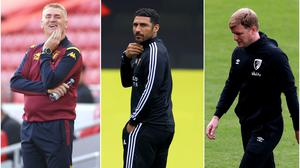Dean Smith, Hayden Mullins and Eddie Howe are locked in the battle to avoid relegation (PA)