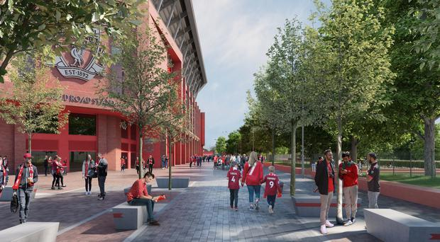 Liverpool have revised plans for the redevelopment of the Anfield Road End which will mean the highway is no longer permanently closed (Handout Photo provided by Liverpool Football Club/PA)