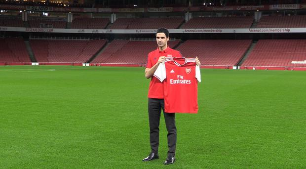 Mikel Arteta takes over an Arsenal side which have won just one of their last 12 games (Screengrab/PA).