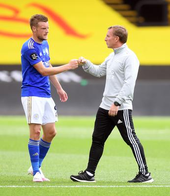 Leicester boss Brendan Rodgers, right, says others have to share the goalscoring burden (Michael Regan/NMC Pool/PA)