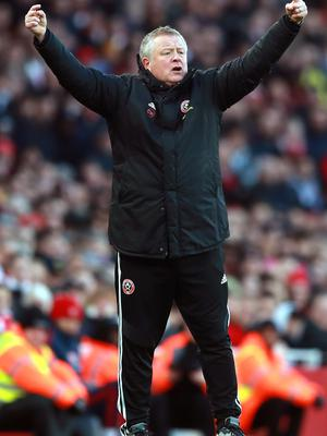 Sheffield United manager Chris Wilder gestures on the touchline (Adam Davy/PA)