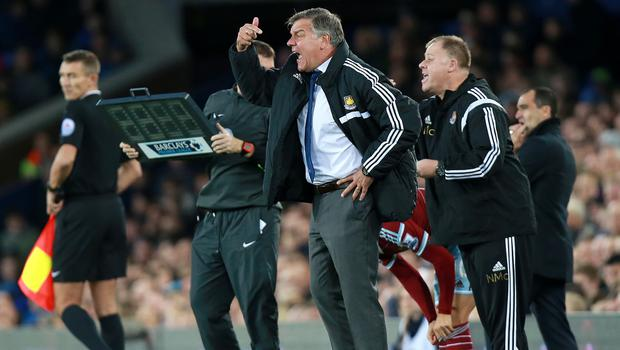 Sam Allardyce, pictured centre, admits his players lost their cool at Everton last weekend