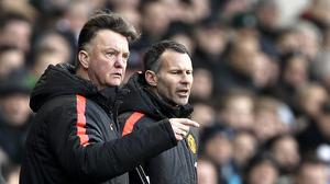 Manchester United manager Louis van Gaal, left, says there is no rift with his assistant Ryan Giggs