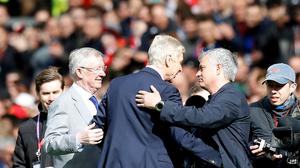 Arsenal manager Arsene Wenger, centre, with Manchester United boss Jose Mourinho, right, and Sir Alex Ferguson